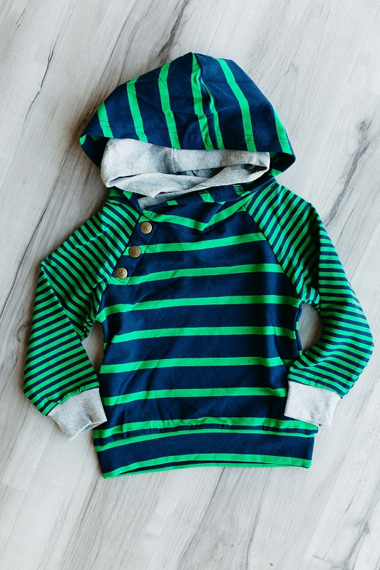 Kids Doublehood Sweatshirt - Navy Green Stripe