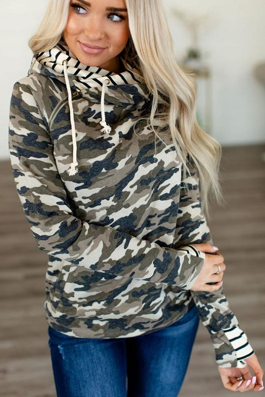 Adult Doublehood Sweatshirt - Covered in Camo