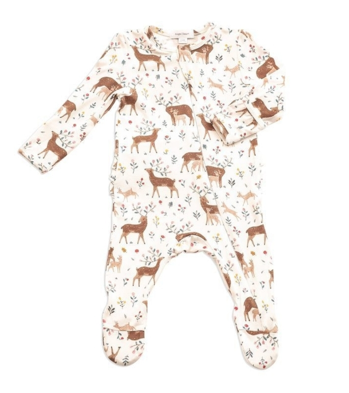 Bamboo Zip Ruffle Footie | Little Deer