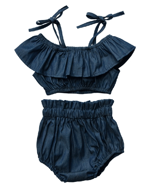 Lucinda Denim Bloomers & Crop Top Set