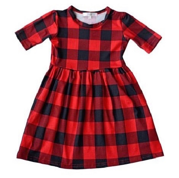 Buffalo Plaid Pleated Dress
