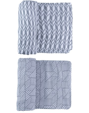 Swaddle Duo Set | Grey Geometric