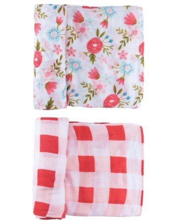 Swaddle Duo Set | Red Floral