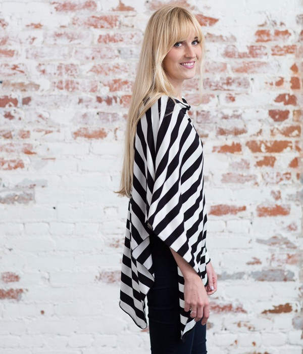 Nursing Poncho | Black & White Stripe