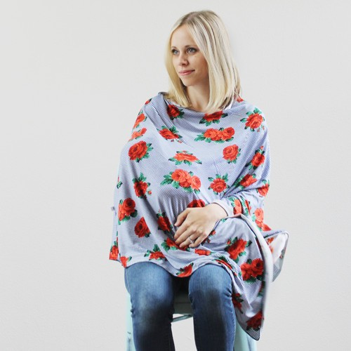 Nursing Poncho | Rose Stripe