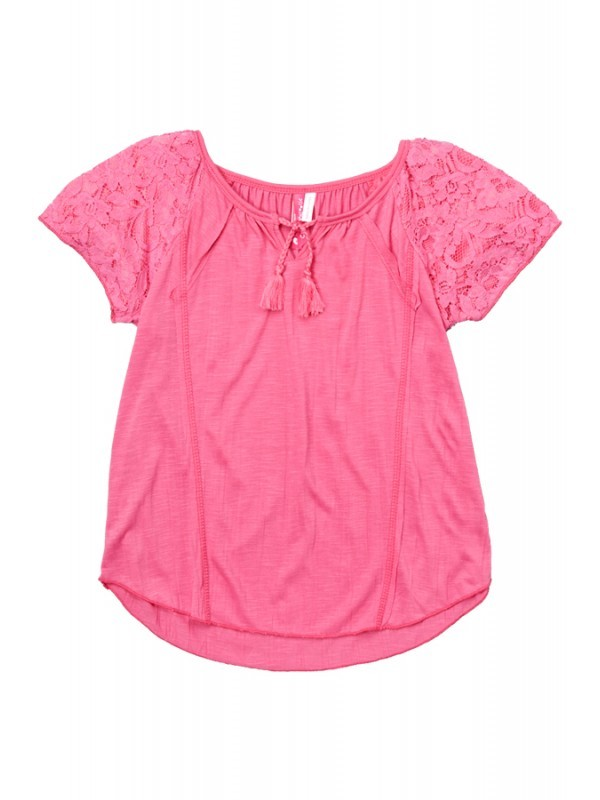 Girl's Pink Peasant Top