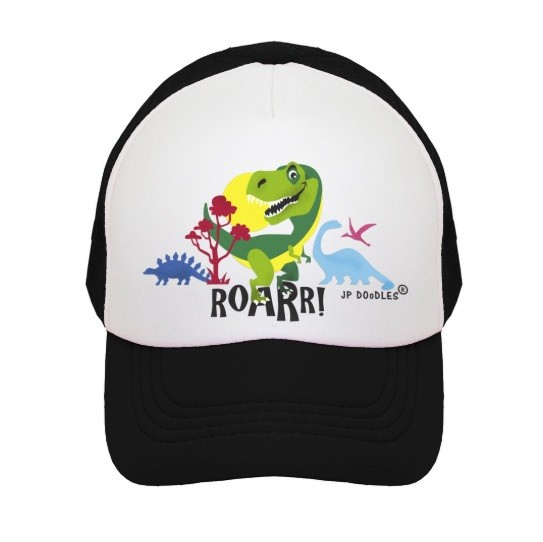 Kids Trucker Hat | Dinosaur Black