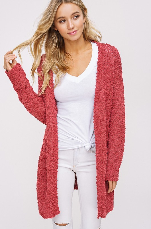 Popcorn Cardigan | Dusty Rose