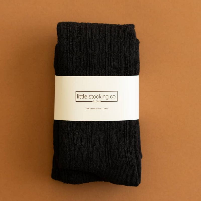 Cable Knit Tights | Black