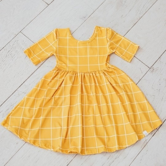 Yellow Plaid Twirl Dress