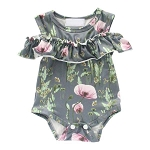 Ruffle Romper | Grey Floral