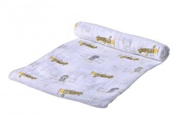 Cotton Muslin Swaddle | Airplane Animals
