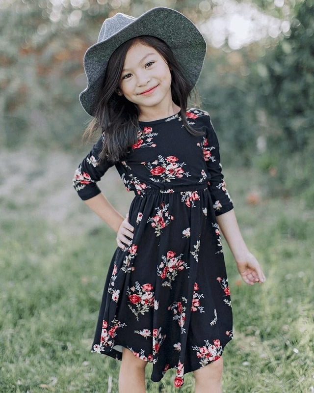 Mandy 3/4 Sleeve Dress | Black Floral