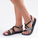 Palm Leaf Sandal | Black Zebra
