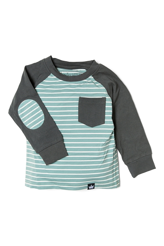 Stripe Elbow Patch Long Sleeve Raglan
