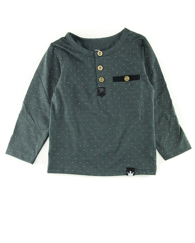 Charcoal Dots Long Sleeve Henley