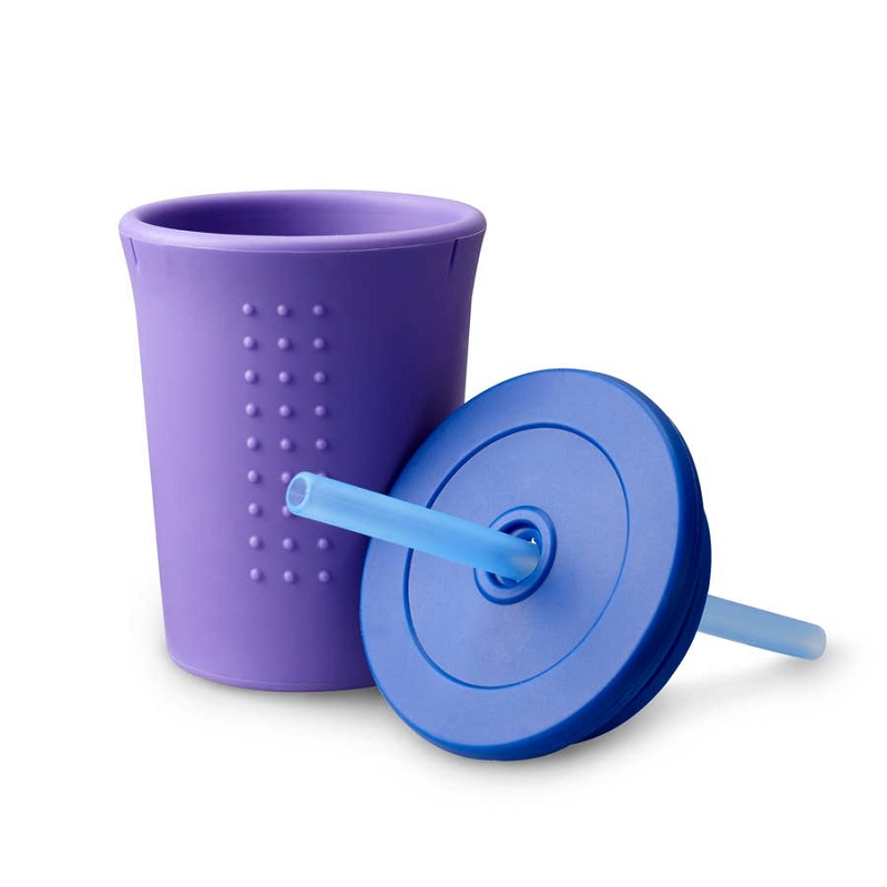 Silicone Straw Cup 12 oz | Purple/Navy