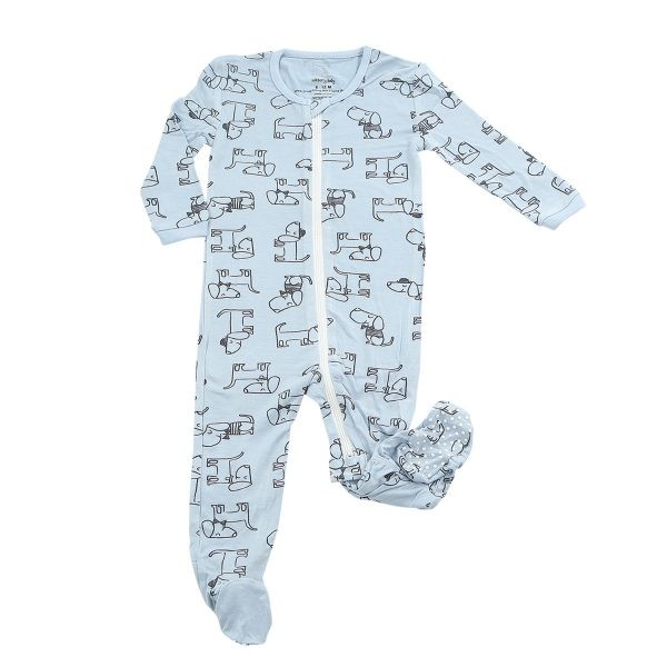 Bamboo Printed Footies - Dog (Periwinkle)