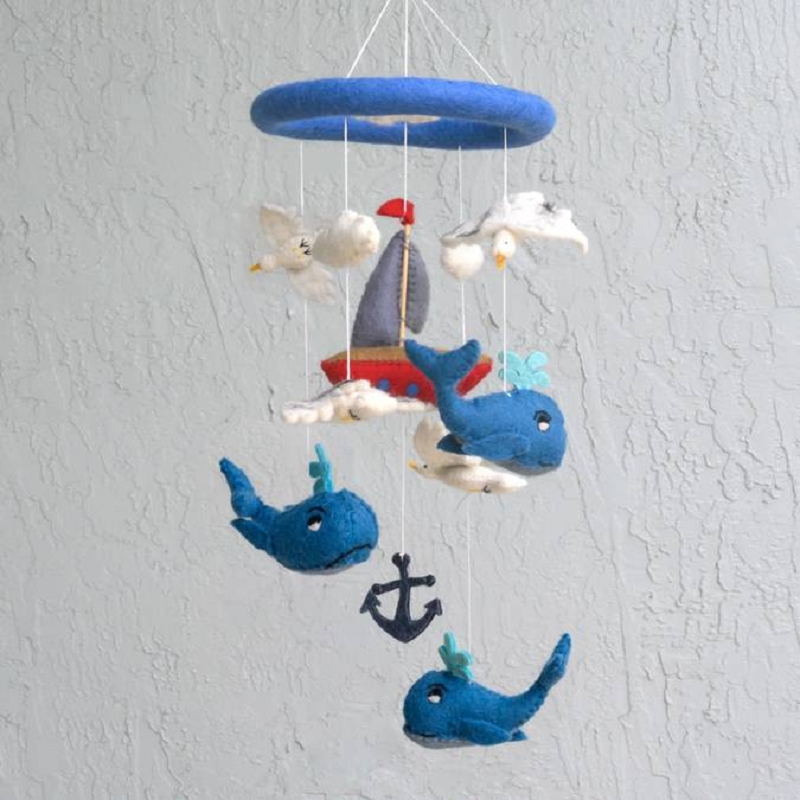 Wool Mobile | Whale and Sailboat