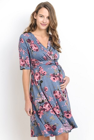 Side Tie Maternity Dress | Blue