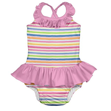 One-piece Ruffle Swimsuit with Built-in Reusable Swim Diaper