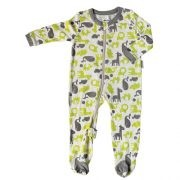 Bamboo Printed Footies - Animals (Lime & Grey)